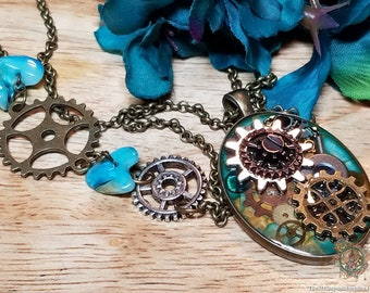Steampunk Jewelry, Blue and Yellow Steampunk Necklace with Gears and Cogs, Gold and Blue Steampunk Necklace