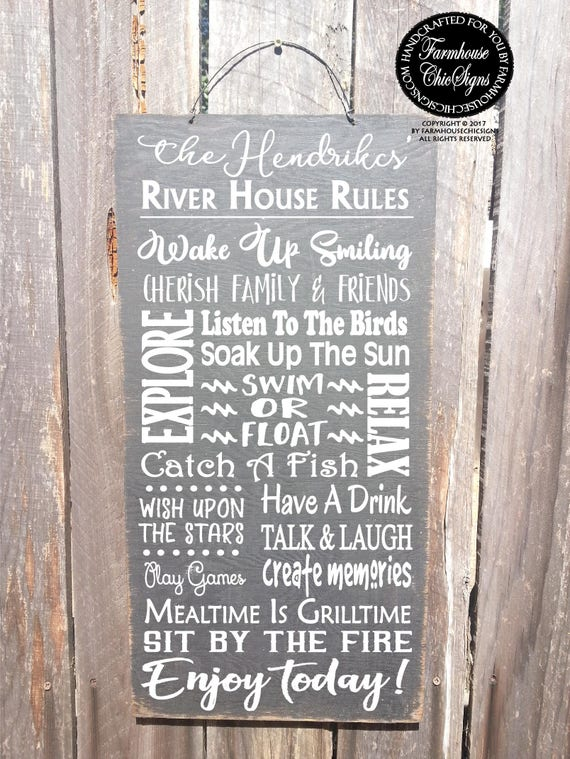 Personalized River House Rules Sign