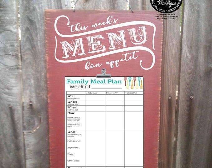 menu planning, menu planner, this week's menu, dinner menu, dinner planner, dinner schedule, meal schedule, family dinner