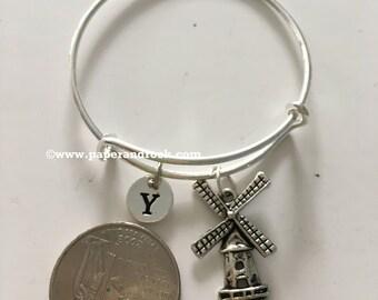 KIDS SIZE Windmill initial bangle, windmill jewelry, Dutch jewelry, Holland jewelry, windmill bangle, Holland bracelet, Netherlands bracelet