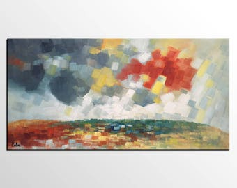 Abstract Landscape Art, Large Art, Oil Painting, Canvas Art, Bedroom Wall Art, Original Painting, Canvas Art Painting, Abstract Painting