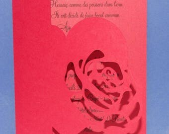 Pink heart wedding invitation