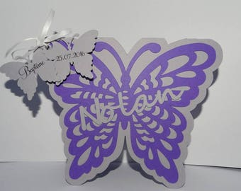 Butterfly and small Butterfly baptism invitation