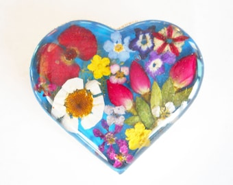 Heart dried pressed flower silver brooch pin multi colors