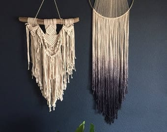 "the ""Caitlin"" MODERN MACRAME style dreamcatcher. BOHO style home decor. dipdyed ombre dreamcatcher. handmade wallhanging."