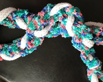 Pink, Green, Blue and White Small Braid Hand Knit Scarf