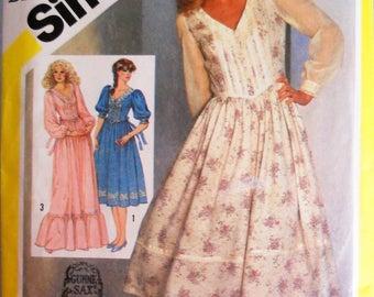 Simplicity 5490.  Gunne Sax.  Gunne Sax dress pattern.  Vintage 1982 Gunne Sax dress pattern.  Size 10.
