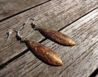 Navettes earrings * iridescent Brown * effect enamel
