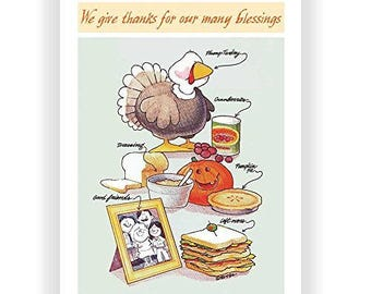 Giving Thanks Cute Thanksgiving Card - 18 Pack - 16044a