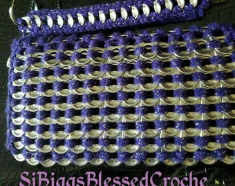 Purple pop tab small clutch wallet,will hold credit cards etc and a cell phone or checkbook!