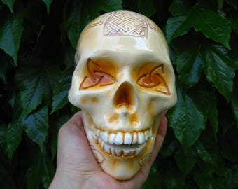 Handmade - Handcrafted - Carved Skull - Carvings - Tribal - Maori - Ancient - Celtic - Knot - Trinity - Day of the Dead - Sugar Skull