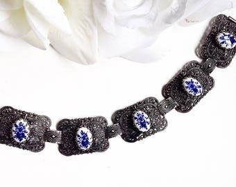 For Her, Silver Bracelet, Filligrie Bracelet, Silver Link Bracelet,Cornflower Link Bracelet, Silver Vintage Bracelet, Silver Vintage Jewelry