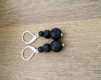 Boucles d'oreilles - Trio de Perles de Lave de la Réunion