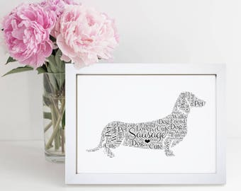 Personalised Sausage Dog Dachshund Animal Pet Word Wall Art Picture Cloud Gift