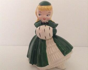 Vintage Christmas Shopper Girl Kreiss Figurine