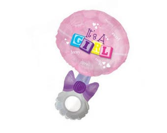 "Its a Girl Foil Rattle Balloon - 37"" baby shower"