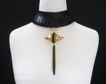leather choker - clothing gift - statement necklace - black necklace - unique gift for her,