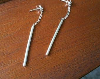 Thin Silver Bar Dangle Earrings - Sterling Silver Chain Dangle - Long Silver Bar Dangle - Minimalist Dangle