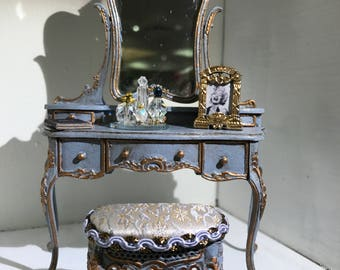 Antique periwinkle gold leaf vanity and stool
