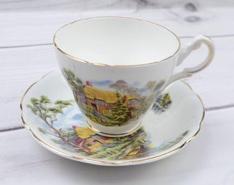 Vintage Regency Michaelmas Bone China England Teacup and Saucer House Boat Design