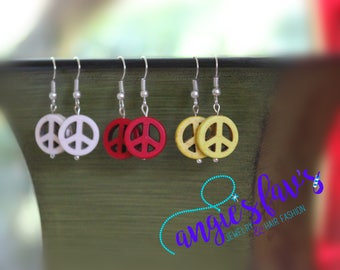Dangle Earrings, Peace Sign