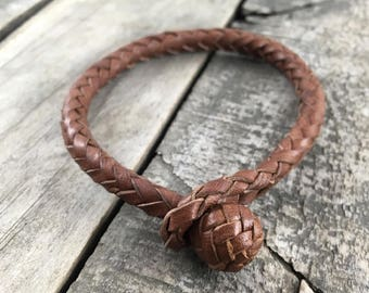 Leather bracelet Braided leather bracelet Braided kangaroo leather bracelet 8 strand lace Herringbone top knot Unisex bracelet Leather gift