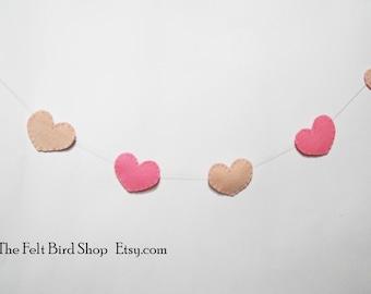 Hearts Garland Hearts bunting Pink hearts ornaments Nursery garland Nursery bunting Gender reveal Baby shower garland