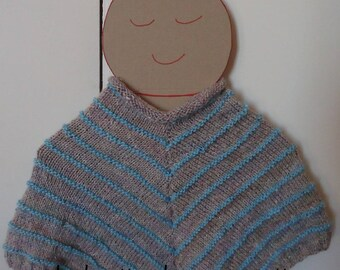 poncho baby turquoise striped cotton spring 6 months
