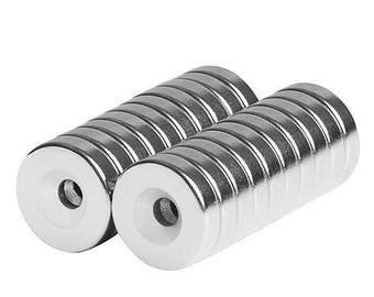 1/2 x 1/8 x 1/8 Inch Neodymium Rare Earth Countersunk Ring Magnets N42 (20 Pack)