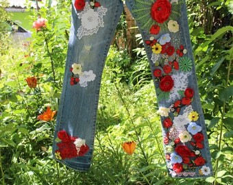 Bohemian jeans Red flowers embroidery vintage old lace