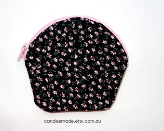Round Floral Patterned Zipper Coin Purse