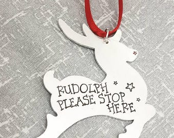 Christmas Decoration - Rudolph Please Stop Here - Rudolph Decoration - Reindeer Decoration - Red Nose - Xmas - Ornament - Tree Decoration