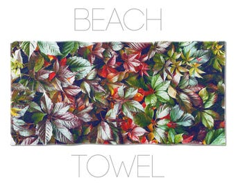 Leaf Towel, Large Beach Towel, Summer Accessory, Gym Towels, Photo Printed, Bath Linen, Home Decor Gift