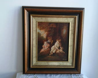 Very sweet oil on canvas, French vintage certified painting signed and dated.