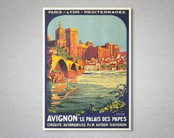 Avignon Le Palais des Papes Vintage Travel Poster - Poster Paper, Sticker or Canvas Print / Gift Idea