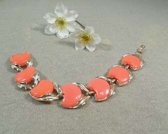 CORO! Beautiful Vintage Gold Tone Orange Thermoset Link Bracelet Signed Coro  DL#2868