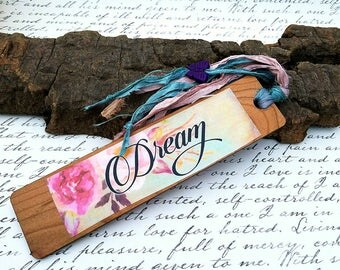 Bookmark-Wood-Semi Precious-Howlite-Purple-Butterfly-Dream-Handcrafted-Handmade-Sari Ribbon-OOAK-One Of A Kind-Unique-Gift-Earthy