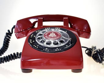 Dark Red Vintage Rotary Dial Phone with Black Accent Dial & Twisted Handset Cord