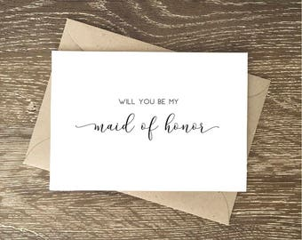 Will You Be My Maid of Honor Proposal Card | Thank You For Being My Maid of Honor Card for Day of Wedding | Beautiful Gift for Maid of Honor