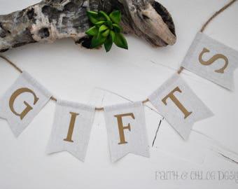 Wedding Gifts Banner | Wedding Reception Gifts Sign | Rustic Wedding Gifts Banner | Barn Wedding Decor | Wedding Reception Banner