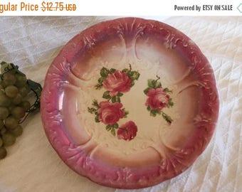 SALE Antique Franz Anton Mehlem - Royal Bonn Pink Serving Bowl with Roses, Cottage Chic
