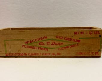 Vintage Wisconsin Cheese Box, Wooden Crate Cheese, Sharp Cheddar, 1 1/2 Pound, Advertising Crate, Clearfield Cheese Co, Curwensville PA