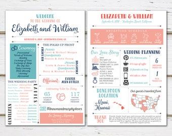 Printable Fun Infographic Wedding Program, Unique Wedding Program, Fun Program, Modern Program, Entertaining, Fun Facts, Hashtag, MB238
