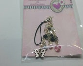 Hand-Beaded Planner Charm - Black & Pink Butterfly
