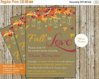 SALE LIMITED TIME Fall In Love Bridal Shower Invite Digital Printable Fall Bridal Shower Invitation Falling in Love Wedding Shower with Hang