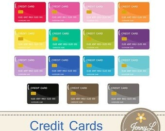 50% OFF Credit Card Clipart, Debit Card for Planners, Digital Scrapbooking, Invitations, cupcake toppers, Stickers, Labels