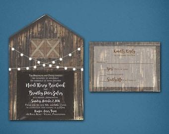 Barn Wedding Invitation • Doorless Barn Wedding Invitation • 1 sided Barn Wedding Invitation • Barn • Wedding Invitation • 1 sided response