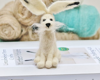 Needle felting kit Winter hare needle felting kit Felting for beginners Best friend craft gift