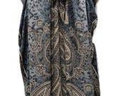 Plus Size Paisley SummerFestival Print Drawstring Batwing Sleeve Kaftan Grey