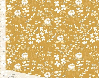 Flora Gold - Elvelyckan Fabric Organic Cotton jerseyUK Seller
